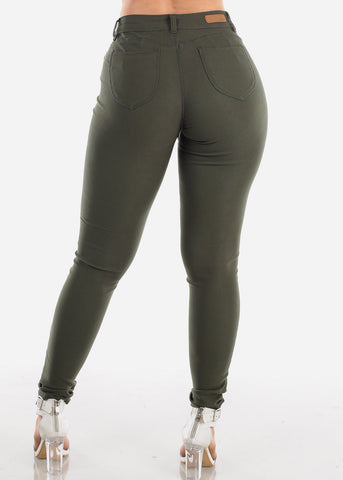 Butt Lifting Olive Jegging Skinny Pants