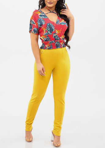 Image of Women's Junior Ladies Sexy Dressy Must Have Going Out Casual Clubwear Night Out High Rise Zipper Detail Tummy Control Light Mustard Yellow Skinny Pants