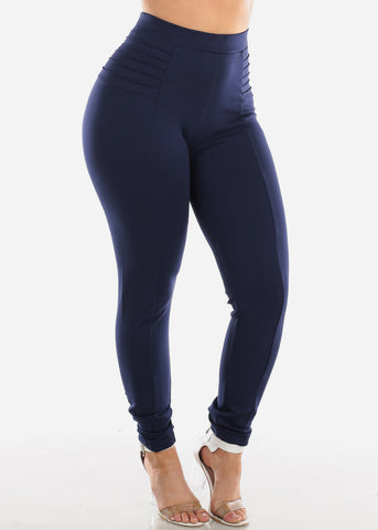 Image of High Rise Navy Dressy Skinny Pants