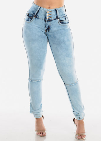Light Acid Wash Butt Lifting Skinny Jeans