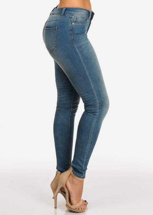 NINE PLANET Stylish Light Blue Wash Mid Rise 1 Button Skinny Jeans