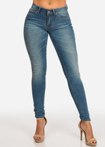 Image of NINE PLANET Stylish Light Blue Wash Mid Rise 1 Button Skinny Jeans