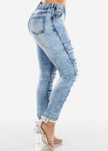 Image of Trendy Pull On Acid Wash Skinny Jeans For Women Ladies Junior
