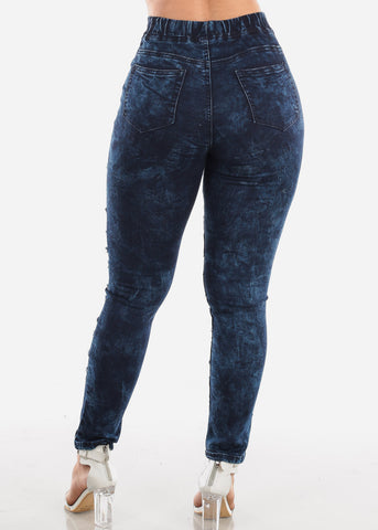 Trendy Pull On Dark Acid Wash Jeans