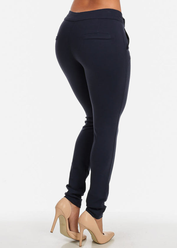 Navy Mid Rise Stretchy Skinny Pants