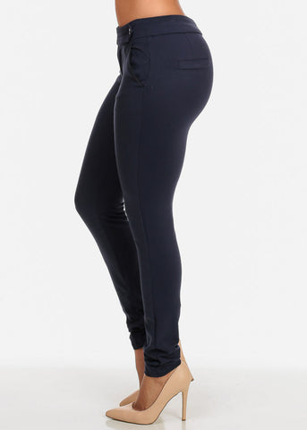 Mid Rise Super Stretchy Solid Navy Skinny Pants For Women Ladies Junior