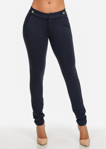 Image of Mid Rise Super Stretchy Solid Navy Skinny Pants For Women Ladies Junior