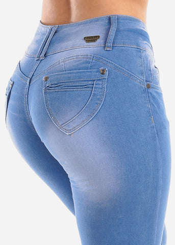 Image of Sexy Butt Lifting Levanta Cola 3 Button Med Wash Mid Rise Skinny Jeans For Women Ladies Junior