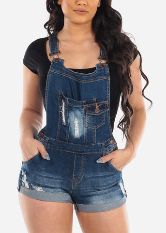 Sexy Cute Dark Wash Distressed Ripped Denim Overall Romper For Women Ladies Junior 2019 New Collection