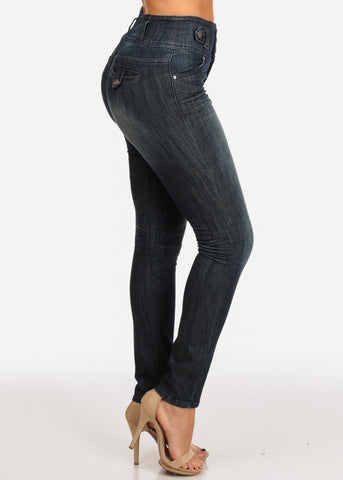 NINE PLANET Stylish Trendy High Rise Dark Wash 3 Button Skinny Jeans