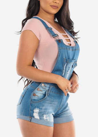 Sexy Cute Med Wash Distressed Ripped Denim Overall Romper For Women Ladies Junior 2019 New Collection