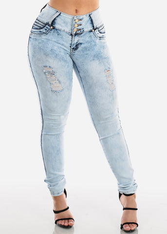 Image of Sexy Levanta Cola Butt Lifting Colombian Design Light Acid Wash 3 Button Skinny Jeans For Women Ladies Junior