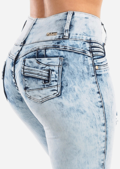 Sexy Levanta Cola Butt Lifting Colombian Design Light Acid Wash 3 Button Skinny Jeans For Women Ladies Junior