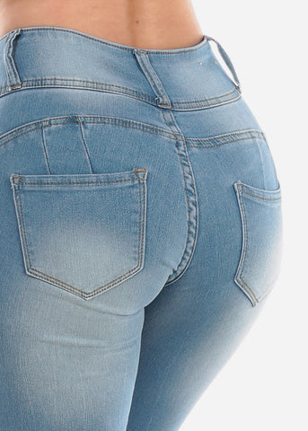 High Waisted Butt Lifting Levanta Cola Colombian Design 3 Button Light Wash Skinny Jeans For Women Ladies Junior