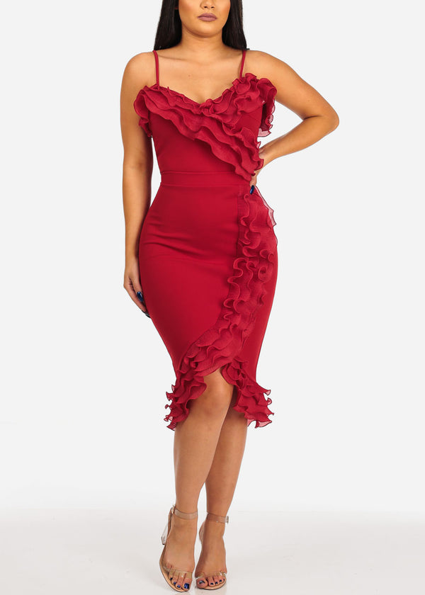 Women's Junior Ladies Club Wear Night Out Sexy Off Shoulder Ruffle Detail Solid Red Crop Top and Pencil Midi Skirt SET