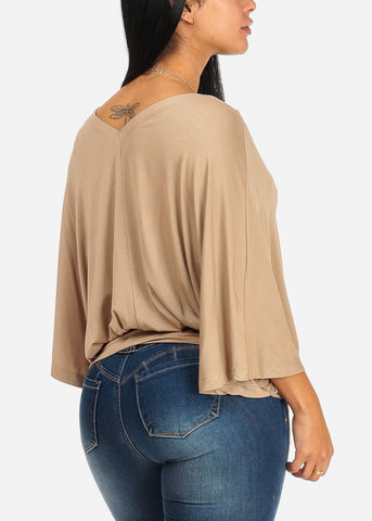Cute Wide Sleeve Khaki Blouse