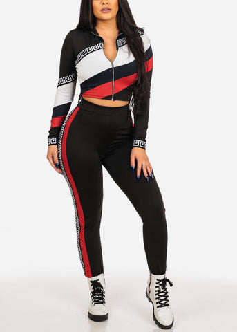 Women's Junior Ladies Going Out Casual Day Gym Work Out Exercise Long Sleeve High Neck Crop Top And High Waisted Color Block Multi Color Pants SET