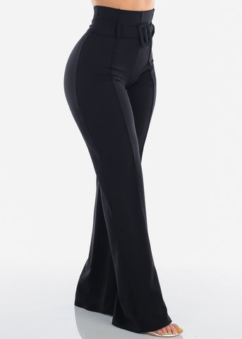 Women's Junior Ladies Sexy Dressy Going Out Clubwear Party Formal Wear Office Business Career Wear Solid Black Wide Legged Pants