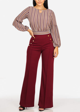 Image of Evening Wear High Rise Burgundy Pants