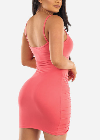 Image of Sexy Clubwear Going Out Party Club Tight Fit 2019 Little Pink Bodycon Mini Dress