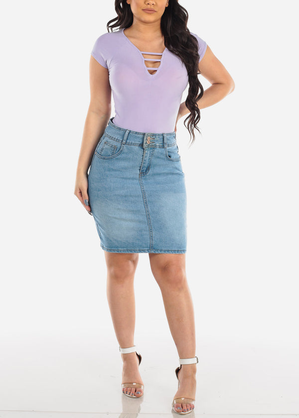 Casual Strappy Light Purple Top