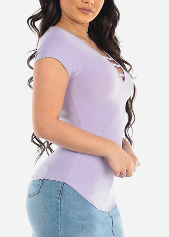 Women's Junior Ladies Casual Super Soft Stretchy Strappy V Neckline Light Purple Lavender Top