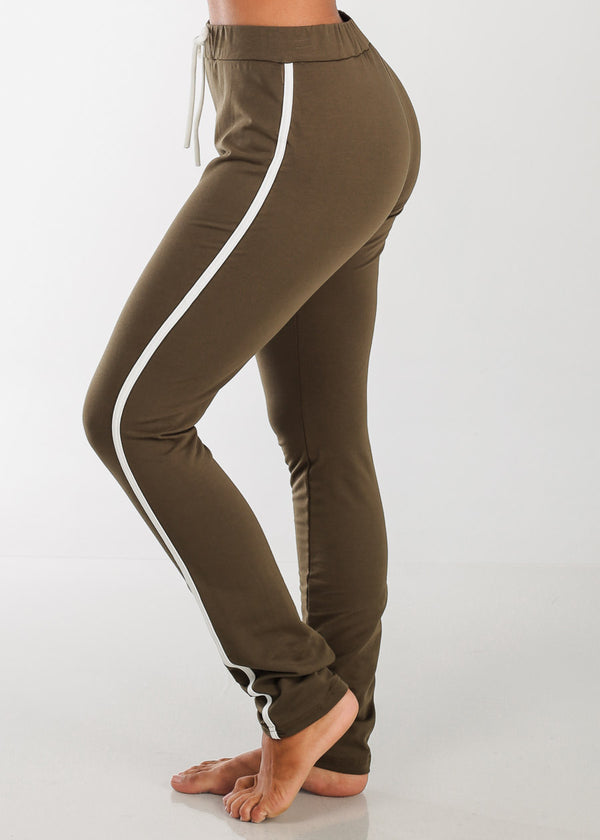 High Rise Stripe Sides Olive Pants