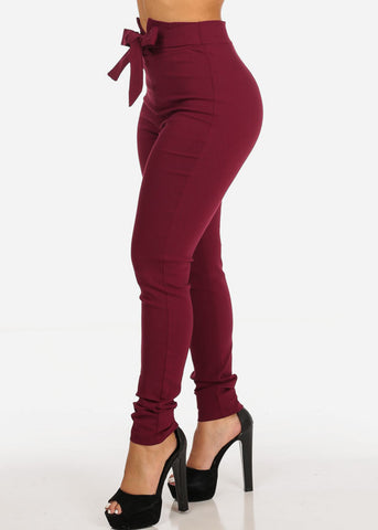 Image of Burgundy High Rise Skinny Pants