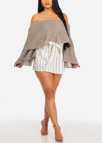 Off Shoulder Mocha Crop Top