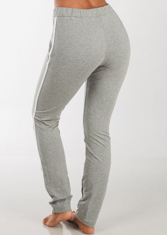 High Rise Stripe Sides Grey Pants