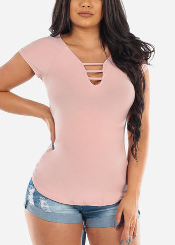 Women's Junior Ladies Casual Super Soft Stretchy Strappy V Neckline Mauve Top