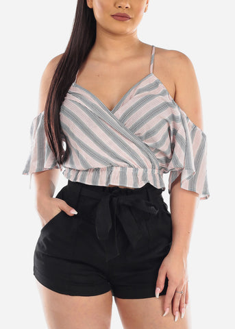 Lightweight Cold Shoulder Tie Neck Mauve Stripe Crop Top For Women Ladies Junior Summer Vacation Trip