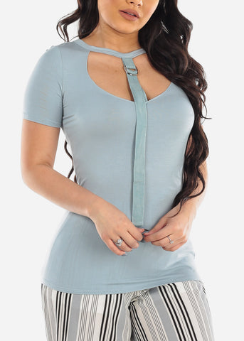 Image of Light Blue Stylish Short Sleeve V-Neck Front String Detail Top
