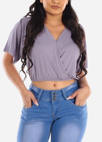 Sexy Cute Casual Stylish Wrap Front V Neck Loose Fit Lavender Crop Top