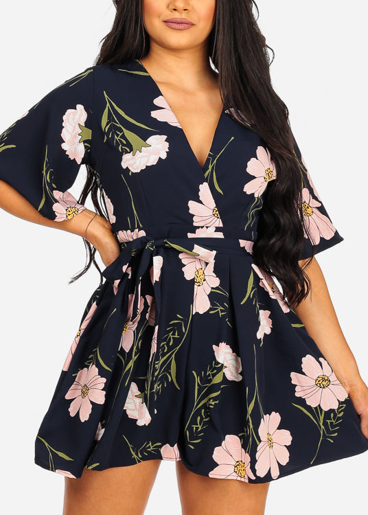 Sexy Short Sleeve Summer Navy Floral Print Romper