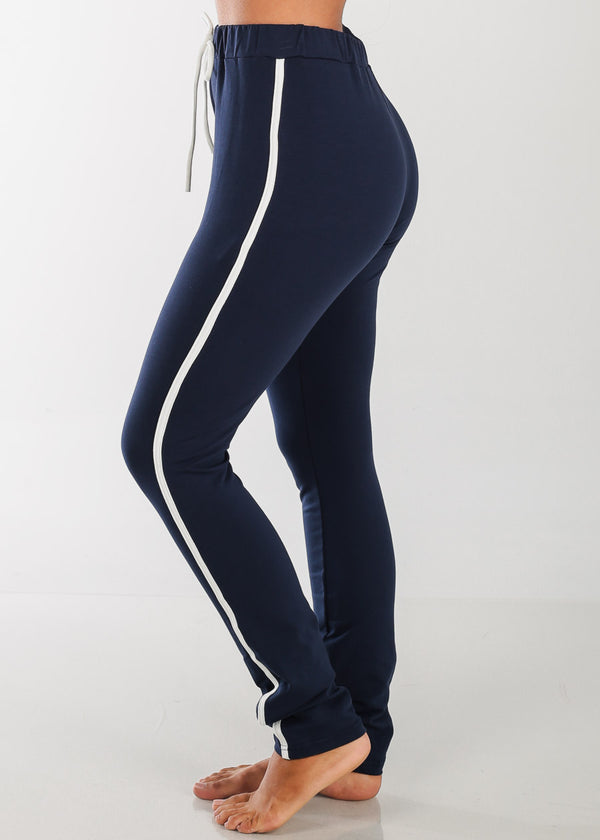 High Rise Stripe Sides Navy Pants