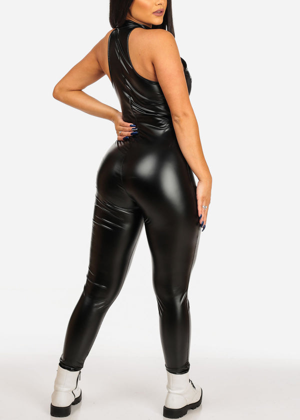 Sexy Black Pleather Jumpsuit