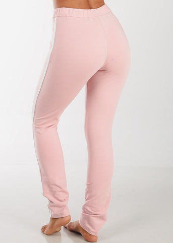 Image of High Rise Stripe Sides Rose Pants