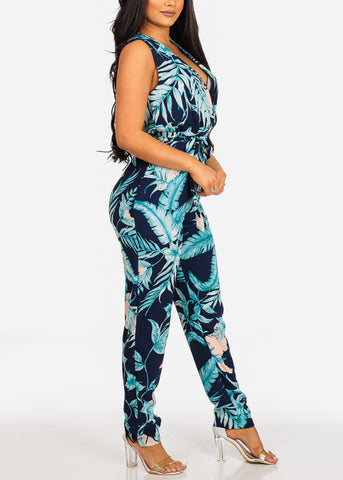 Image of Sleeveless Lightweight Floral Print Navy Jumpsuit W Tie Belt