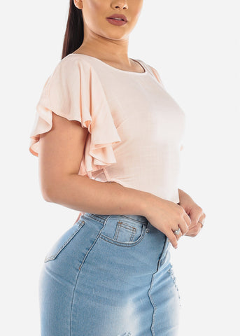 Cute Ruffled Light Peach Crop Top
