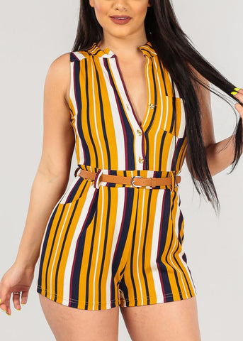 Women's Junior Ladies Sexy Casual Trendy Button Up Navy Mustard Yellow White navy Burgundy Stripe Romper With Top Front Pocket