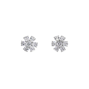 Signature Collection Diamond Flower Earrings in 18k White Gold