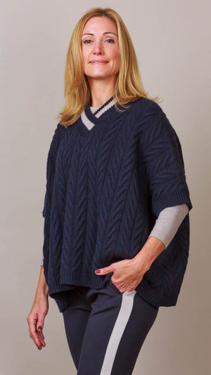 Cable Knit V-Neck Poncho - Navy/Beige Trim