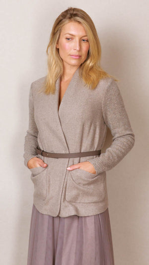 Peserico Blazer With Belt - Taupe