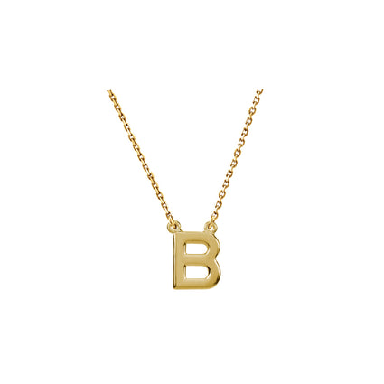 Solid 14K Gold Initial Necklace A-Z