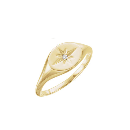 Solid 14K Gold Diamond Signet Ring