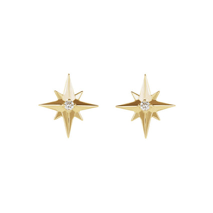 14K Gold Star Set Diamond Earrings