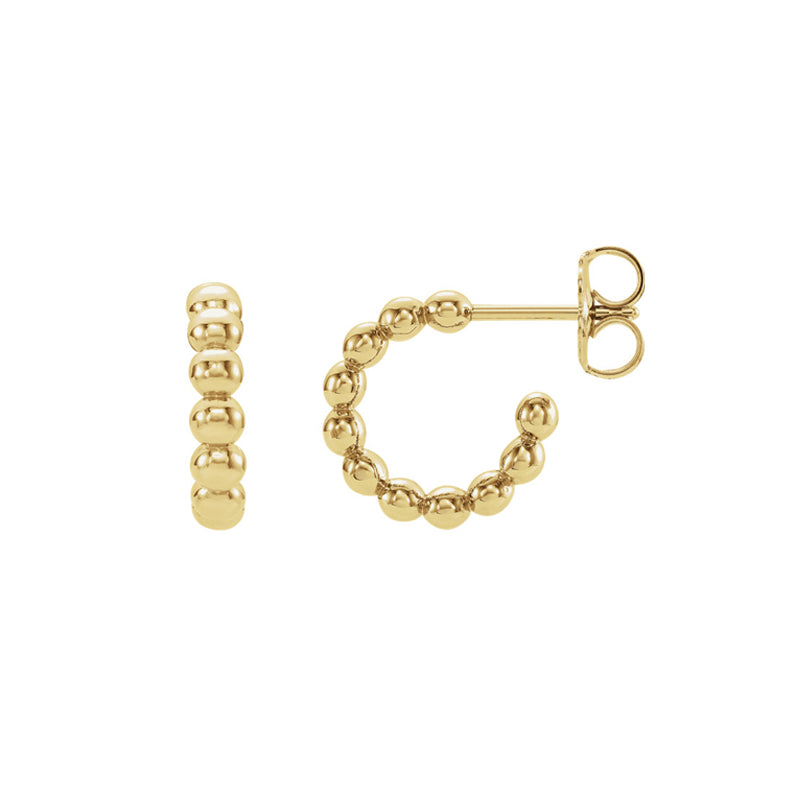 Solid 14K Gold Bali Hoop Earrings