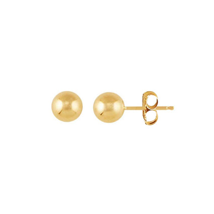 14K Gold Full Moon Stud Earrings 6mm