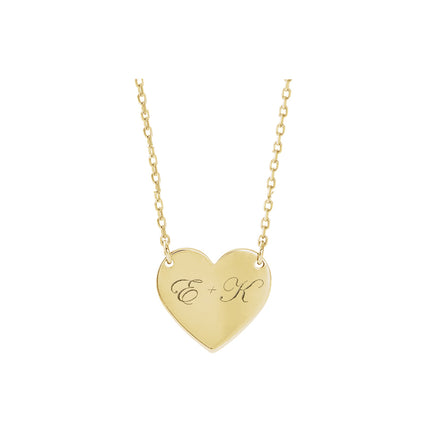 Solid 14K Gold Engravable Heart Necklace